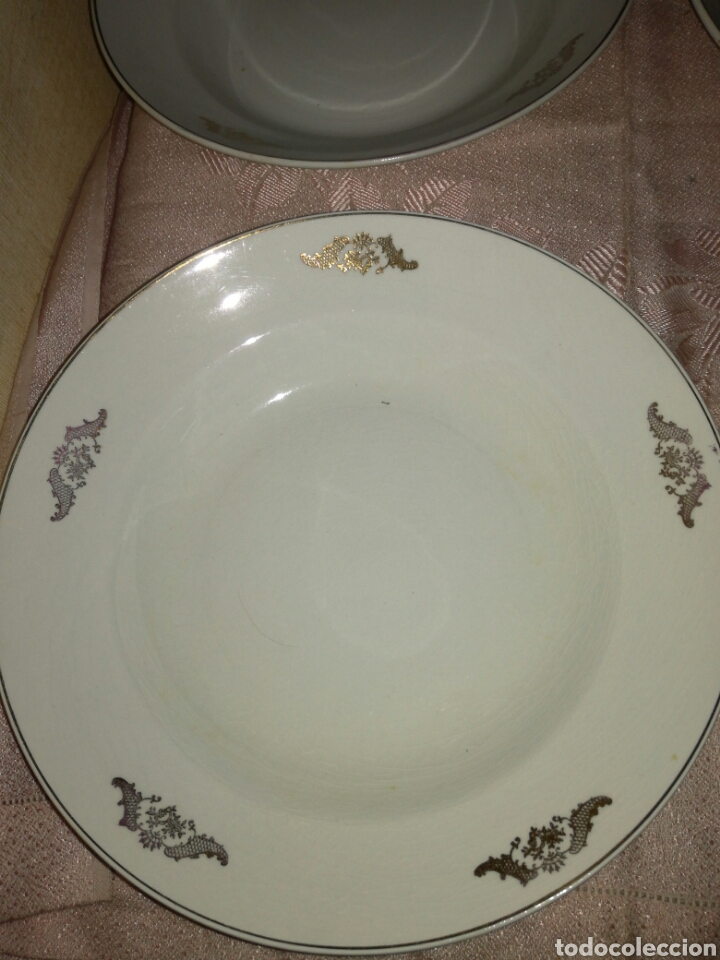 Antigüedades: 4 platos hondos La Asturiana Gijón - Foto 2 - 102741524
