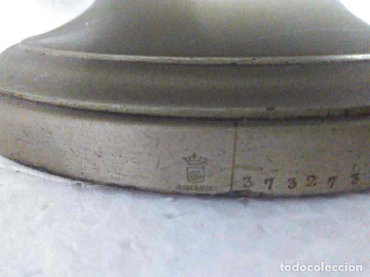 Antigüedades: Antigua fuente o sopera de metal plateado, de la marca Gombault. - Foto 7 - 102745155