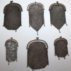 Antigüedades: LOTE DE 6 MONEDEROS DE MALLA MODERNISTAS EN PLATA D ELEY. CIRCA 1910. Lote 102790195