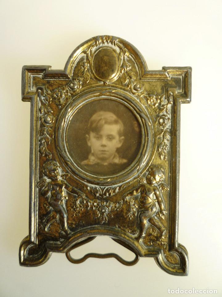 Antigüedades: PEQUEÑO PORTAFOTOS DE BRONCE ART NOUVEAU FRANCES DE 1900 PIEZA NUMERADA DE COLECCION MARCADA - Foto 5 - 102793147