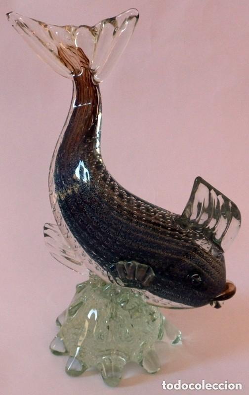 Antigüedades: PEZ EN CRISTAL DE MURANO - Foto 14 - 102814323