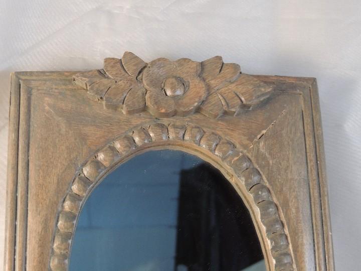 Antigüedades: APLIQUE DE MADERA CON ESPEJO OVAL PARA UNA LUZ - Foto 4 - 254389355