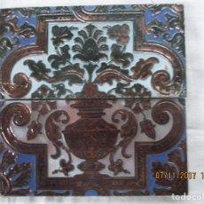 Antigüedades: PAREJA DE AZULEJOS RAMOS REJANO REFLEJO DE COBRE. Lote 102839899