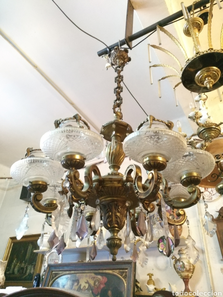IMPRESIONANTE LAMPARA DE LOS AÑOS 30 EN BRONCE GRANDES DIMENSIONES (Antigüedades - Iluminación - Lámparas Antiguas)