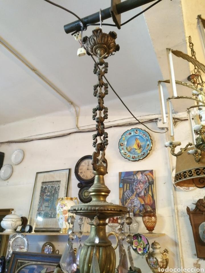 Antigüedades: IMPRESIONANTE LAMPARA DE LOS AÑOS 30 EN BRONCE GRANDES DIMENSIONES - Foto 2 - 102948256