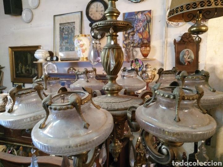 Antigüedades: IMPRESIONANTE LAMPARA DE LOS AÑOS 30 EN BRONCE GRANDES DIMENSIONES - Foto 3 - 102948256