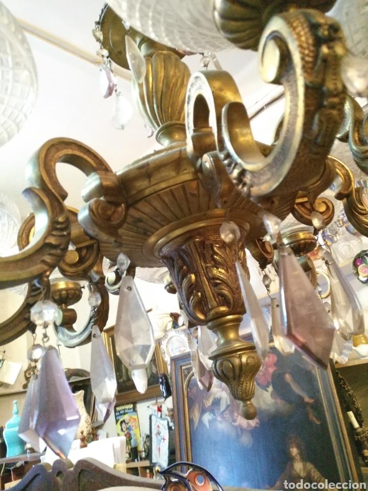 Antigüedades: IMPRESIONANTE LAMPARA DE LOS AÑOS 30 EN BRONCE GRANDES DIMENSIONES - Foto 4 - 102948256
