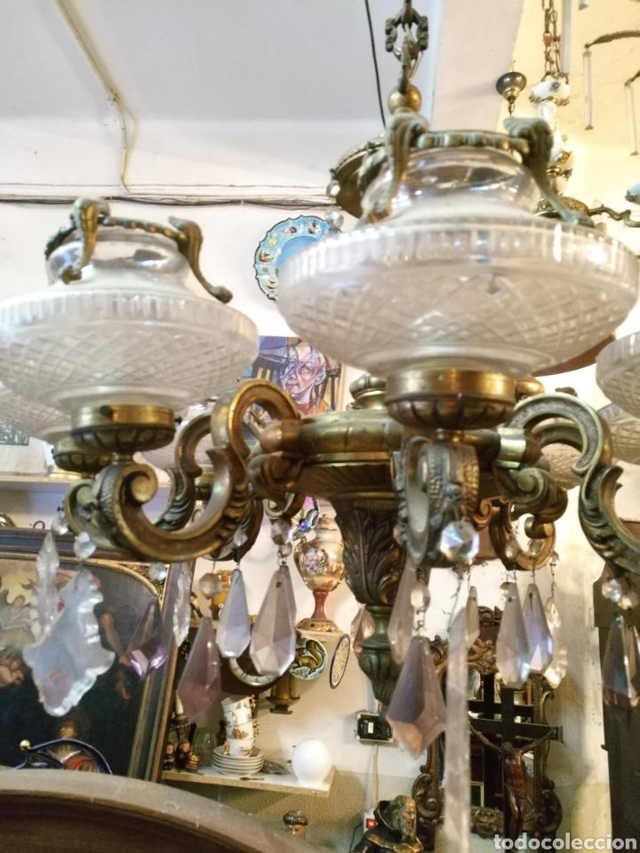 Antigüedades: IMPRESIONANTE LAMPARA DE LOS AÑOS 30 EN BRONCE GRANDES DIMENSIONES - Foto 5 - 102948256