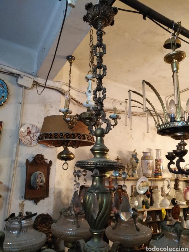 Antigüedades: IMPRESIONANTE LAMPARA DE LOS AÑOS 30 EN BRONCE GRANDES DIMENSIONES - Foto 7 - 102948256
