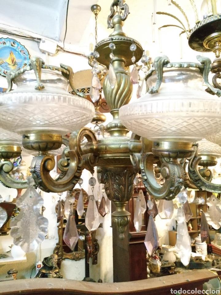 Antigüedades: IMPRESIONANTE LAMPARA DE LOS AÑOS 30 EN BRONCE GRANDES DIMENSIONES - Foto 8 - 102948256