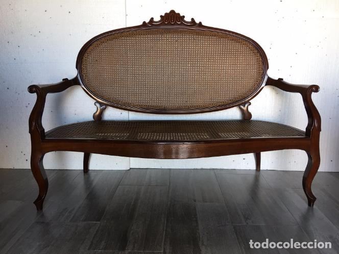 SOFÁ DE REJILLA DE CAOBA (Antigüedades - Muebles Antiguos - Sofás Antiguos)