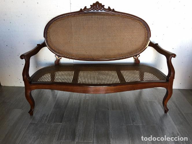 Antigüedades: SOFÁ DE REJILLA DE CAOBA - Foto 2 - 102951695