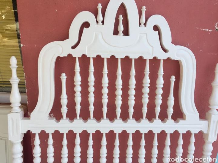 Antigüedades: CABECERO CASTELLANO BLANCO - Foto 6 - 102843431