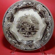 Antigüedades: RARO PLATO CARTAGENA MARRÓN ESCENA CAZA BISONTE. Lote 102979631