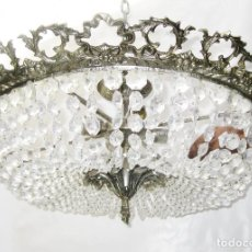 Antigüedades: ENORME LAMPARA ANTIGUA PLAFON 70CM DIAMETRO BRONCE PLATEADO Y CRISTAL CIRCA 1920. Lote 103004727