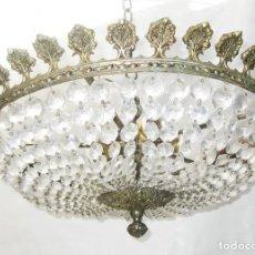 Antigüedades: ENORME LAMPARA ANTIGUA PLAFON 56CM DIAMETRO BRONCE Y CRISTAL CIRCA 1920. Lote 244959380