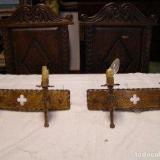 Antigüedades: PAREJA APLIQUES METAL. Lote 103037631
