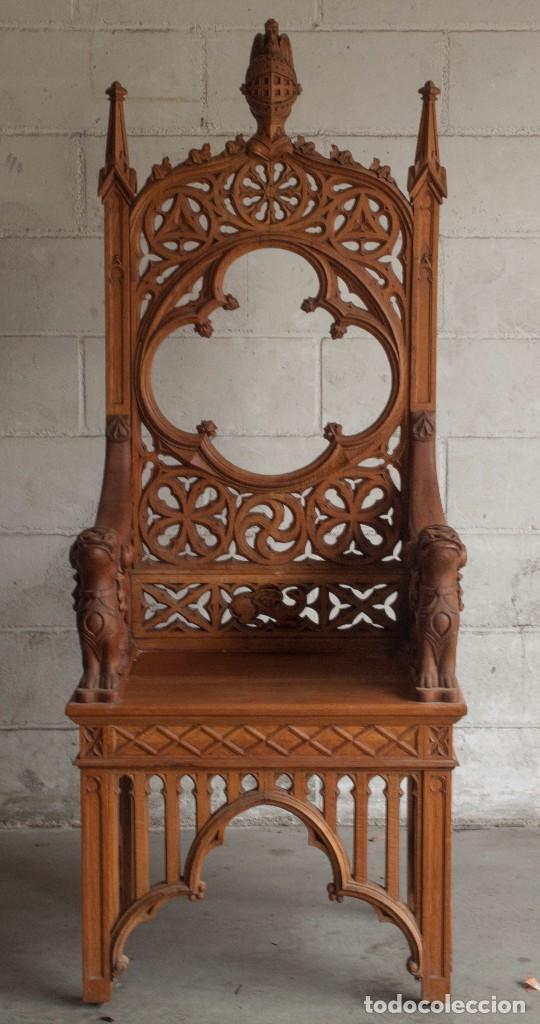 Antigüedades: Conjunto muebles compuesto de 6 sillas 2 butacas y una mesa de estilo neogótico alemán finales XIX - Foto 2 - 103048479