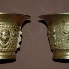 Antigüedades: LOTE DE DOS MORTEROS DE BRONCE LABRADOS-02 AB. Lote 103078207
