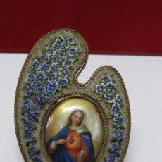 Antigüedades: ANTIGUO PORTAFOTOS CON IMAGEN DE LA VIRGEN. Lote 103131475