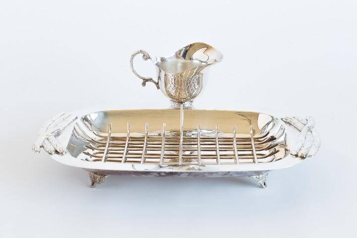 ESPARRAGUERA BAÑADA EN PLATA (Antigüedades - Platería - Bañado en Plata Antiguo)