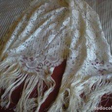 Antigüedades - Antigua mantilla, echarpe o chal de encaje blanco con flecos - 103155975