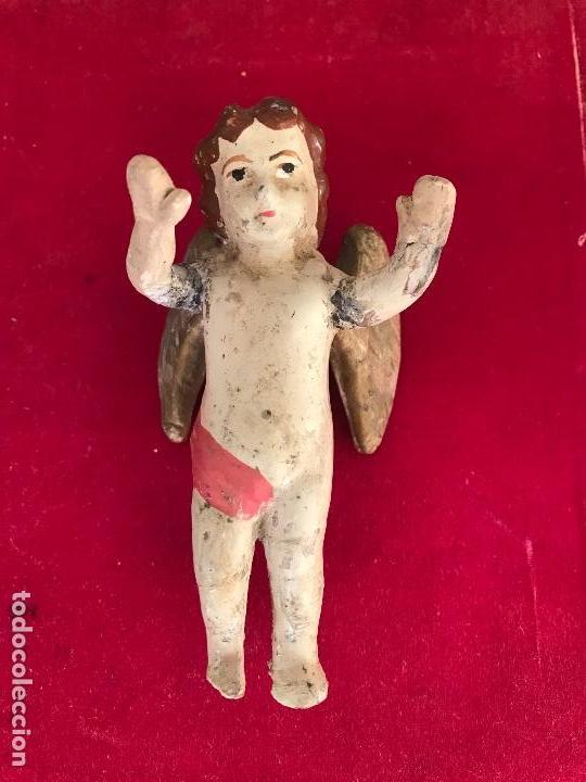 ANTIGUO ANGEL O QUERUBÍN DE TERRACOTA IDEAL CAPILLA O BELEN. S.XIX (Antigüedades - Religiosas - Ornamentos Antiguos)