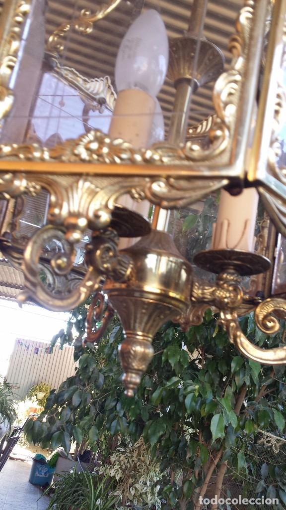 Antigüedades: precioso farol en bronce, - Foto 5 - 103219527