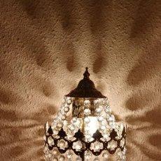 Antigüedades: LAMPARAS DE SOBREMESA IMPERIO CON LAGRIMAS DE VIDRIO TALLADO, PAREJA. Lote 103282387