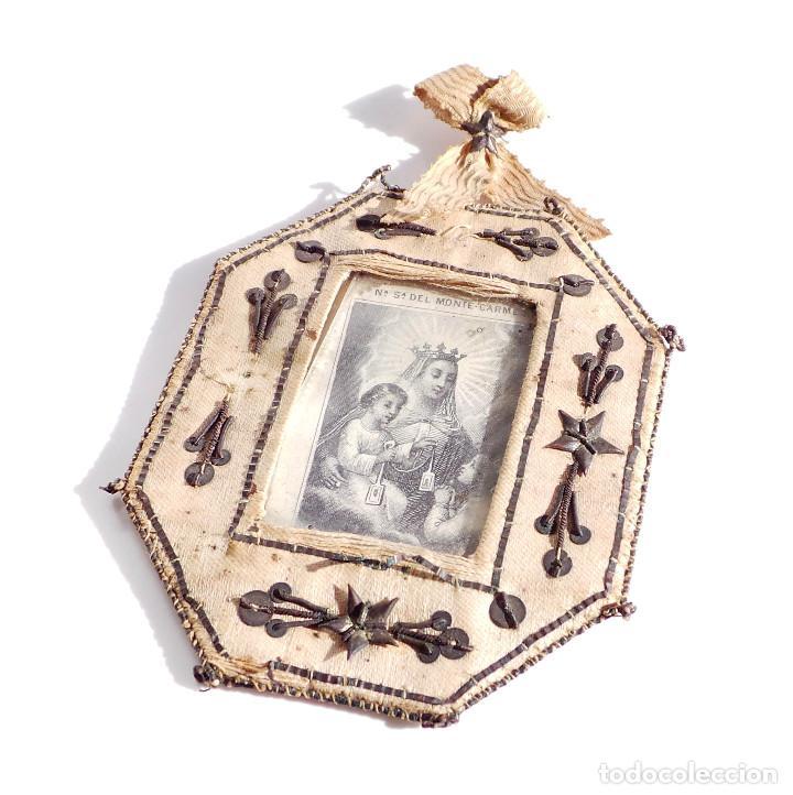 Antigüedades: RELICARIO DE NUESTRA SEÑORA DEL MONTE CARMELO 8,5 X 7 CM - Foto 2 - 103288607