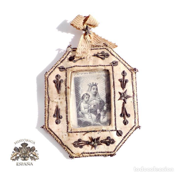 Antigüedades: RELICARIO DE NUESTRA SEÑORA DEL MONTE CARMELO 8,5 X 7 CM - Foto 5 - 103288607