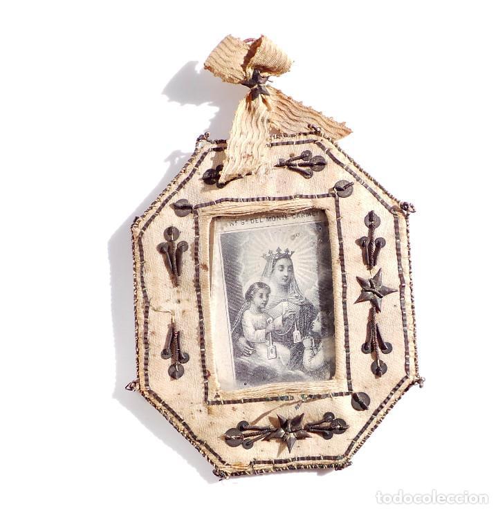 Antigüedades: RELICARIO DE NUESTRA SEÑORA DEL MONTE CARMELO 8,5 X 7 CM - Foto 6 - 103288607