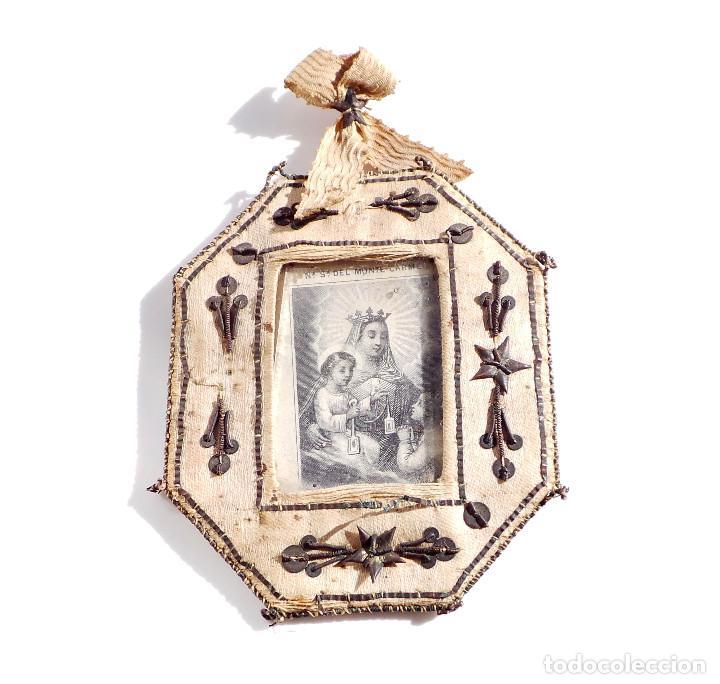 Antigüedades: RELICARIO DE NUESTRA SEÑORA DEL MONTE CARMELO 8,5 X 7 CM - Foto 7 - 103288607