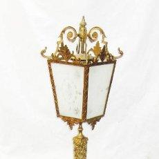Antigüedades: FANTASTICA GRAN LAMPARA 192CM ANTIGUA PIE SALON BRONCE DORADO Y MARMOL . Lote 103314243