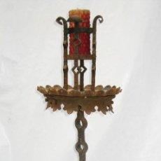 Antigüedades: DE MUSEO! CANDELABRO FORJA HIERRO GOTICO MEDIEVAL VER DETALLES. Lote 103327759