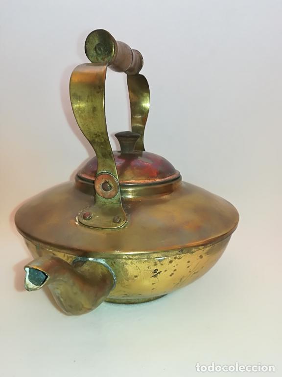 Antigüedades: TETERA EN LATÓN - Foto 2 - 105808455
