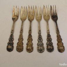 Antigüedades: 6 TENEDORES EN PLATA DE LEY PUNZONADA. Lote 103367251