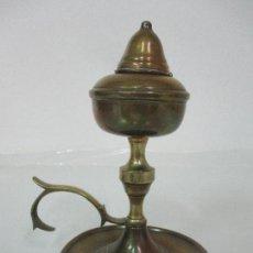 Antigüedades: ANTIGUO CANDIL DE ACEITE - LÁMPARA CAPUCHINA - BRONCE - SIGLO XIX. Lote 103375455