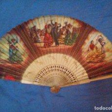 Antigüedades: VENDO ABANICO AÑOS 50 MUY DECORATIVO PINTADO A MANO. Lote 103379339