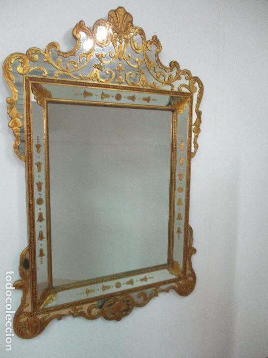 Antigüedades: Espejo Veneciano - Madera Tallada y Dorada - Composición con Espejos - Principios S. XX - Foto 2 - 103412523