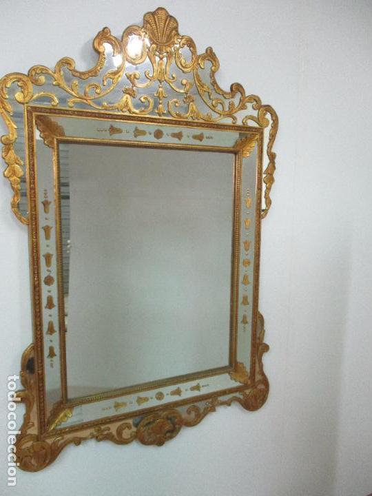 Antigüedades: Espejo Veneciano - Madera Tallada y Dorada - Composición con Espejos - Principios S. XX - Foto 3 - 103412523