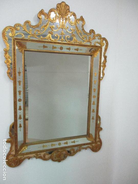 Antigüedades: Espejo Veneciano - Madera Tallada y Dorada - Composición con Espejos - Principios S. XX - Foto 4 - 103412523