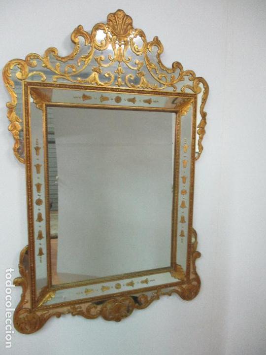 Antigüedades: Espejo Veneciano - Madera Tallada y Dorada - Composición con Espejos - Principios S. XX - Foto 5 - 103412523