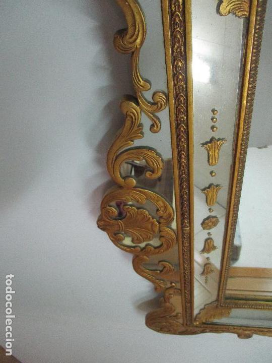 Antigüedades: Espejo Veneciano - Madera Tallada y Dorada - Composición con Espejos - Principios S. XX - Foto 10 - 103412523