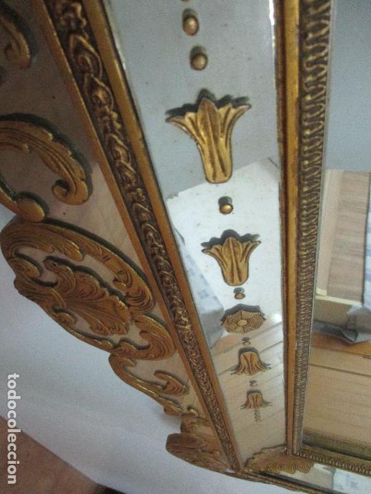 Antigüedades: Espejo Veneciano - Madera Tallada y Dorada - Composición con Espejos - Principios S. XX - Foto 12 - 103412523