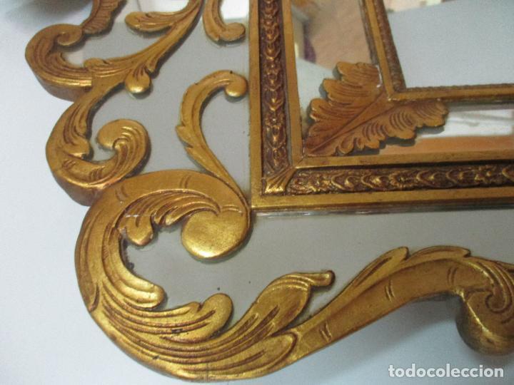 Antigüedades: Espejo Veneciano - Madera Tallada y Dorada - Composición con Espejos - Principios S. XX - Foto 17 - 103412523