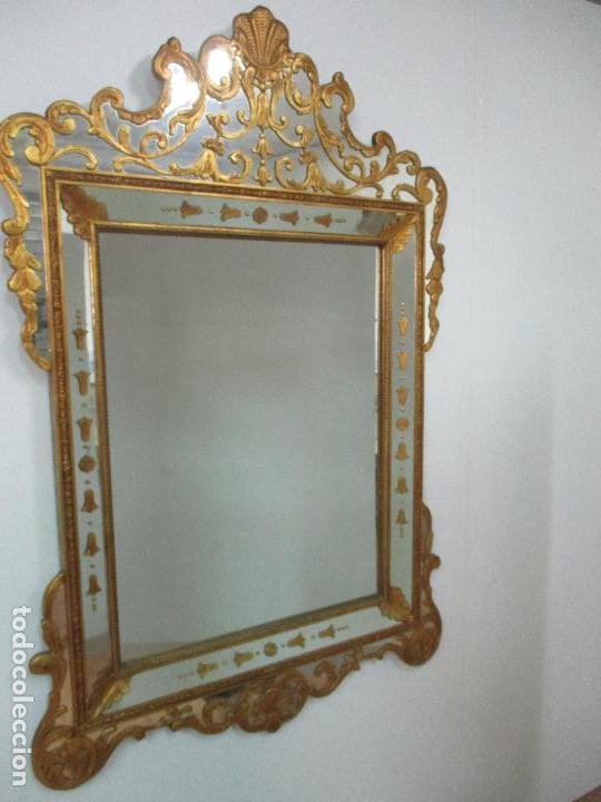 Antigüedades: Espejo Veneciano - Madera Tallada y Dorada - Composición con Espejos - Principios S. XX - Foto 29 - 103412523