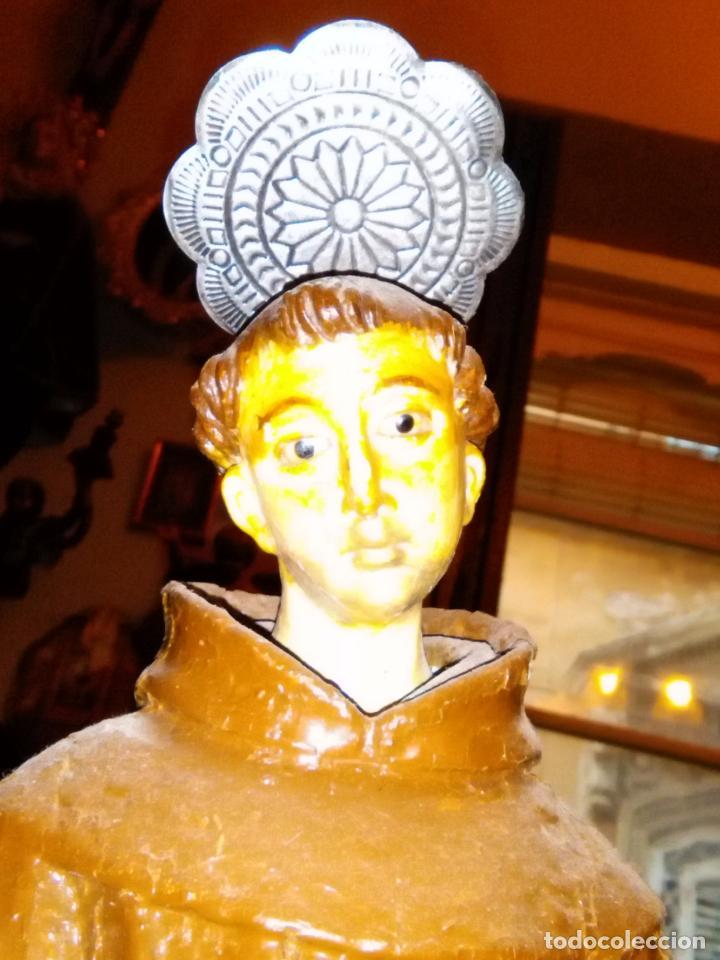 Antigüedades: torta corona resplandor aureola napolitana ideal figuras de belen santo virgen niño jesus metal 6 cm - Foto 4 - 143220284