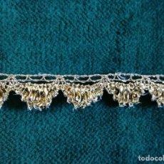 Antigüedades: PASAMANERIA DORADA PARA VESTIMENTA DE IMAGEN VIRGEN O SANTO ENCAJE DE CONCHA. Lote 104189054