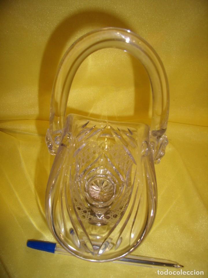 Antigüedades: Cesta cristal tallado de 24% plomo, pie plata, años 70, Nueva. - Foto 2 - 103426631